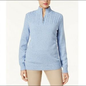 Karen Scott Blue Quarter Zip Knit Sweater